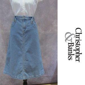 NEW Christopher & Banks Denim Modest No Slit Skirt